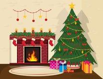 Уютный интерьер рождества иллюстрация вектора