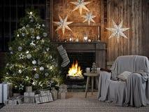 Уютный интерьер рождества с firelace и christmastree перевод 3d бесплатная иллюстрация