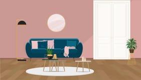 Уютный интерьер с розовой стеной, белой дверью и софой бирюзы иллюстрация штока