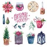 Уютный комплект элементов рождества иллюстрация штока