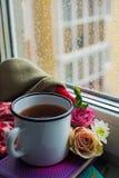 Уютный натюрморт: кружка горячих чая, книг и цветков с теплой шотландкой на windowsill Дождливый день снаружи Чтение, осень и зим стоковая фотография rf