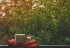 Уютный натюрморт осени: чашка горячего кофе и раскрытой книги на винтажном windowsill и дожде снаружи Осень афоризмов дождь стоковое фото rf