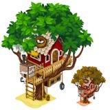 Уютный дом построенный на большом дереве Изолированный вектор бесплатная иллюстрация
