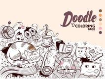 Уют дома иллюстрации Doodle Стоковые Изображения RF