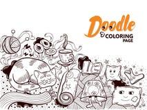 Уют дома Doodle книжка-раскраски Стоковые Фотографии RF