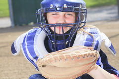 Улавливатель бейсбола на свете солнца стоковое изображение