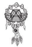 Улавливатель индейца мечт с этническими орнаментами и сычом бесплатная иллюстрация