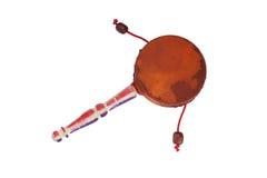 Ударный инструмент барабанчика Damaru с ручкой Стоковые Изображения