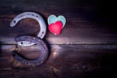 Удачливые подковы и сердца Стоковые Изображения