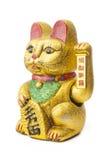 Удачливый кот - Maneki Neko держа монетку Koban Стоковая Фотография RF