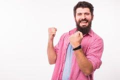 Удачливый, победитель, счастливый успешный стильный бородатый человек битника стоковые фотографии rf