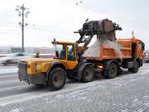 Удаление снега от дорог Стоковая Фотография RF