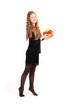 удерживание девушки свежих фруктов Стоковое Изображение