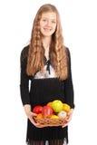 удерживание девушки свежих фруктов Стоковое фото RF