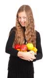 удерживание девушки свежих фруктов Стоковые Изображения RF