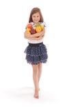 удерживание девушки свежих фруктов Стоковое Изображение RF