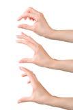 Удерживание женщины установленное руками или измерять что-то Стоковая Фотография RF