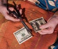 Удерживание женщины torned 100 долларовых банкнот Стоковая Фотография RF