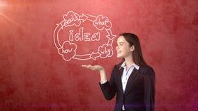 Удерживание молодой женщины покрасило экономический цикл на открытой ладони руки, над изолированной предпосылкой студии владение  Стоковая Фотография RF