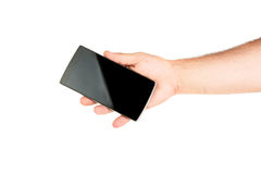 удерживание руки банка предпосылки замечает smartphone стоковые фото