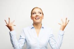 Удивительно портрет бизнес-леди над белой предпосылкой Стоковое фото RF
