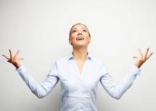Удивительно портрет бизнес-леди над белой предпосылкой Стоковое Изображение