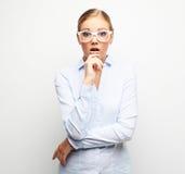 Удивительно портрет бизнес-леди над белой предпосылкой Стоковые Фото