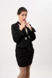 Удивленная бизнес-леди на белой предпосылке Стоковое Изображение RF