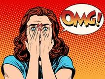 Удивленная женщина сотрясенная OMG Стоковое фото RF