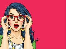 Удивленная молодая сексуальная женщина с открытым ртом в стеклах Шуточная женщина иллюстрация вектора