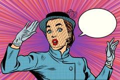 Удивленная ретро дама вуали бесплатная иллюстрация