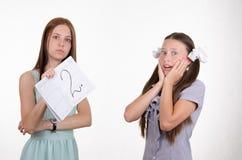 Удивленная школьница получила deuce Стоковая Фотография RF