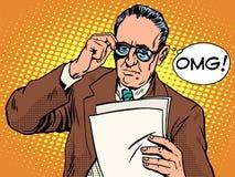 Удивленная OMG концепция дела босса иллюстрация вектора