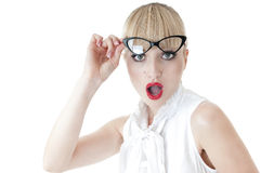 Удивленное бизнес-леди выражение стороны. Стоковые Фотографии RF