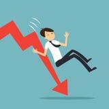 Удивленный бизнесмен падает вниз диаграмма Стоковые Фото