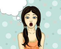 Удивленный ребенок с открытым ртом прочь смотрящ девушка Стоковые Фото
