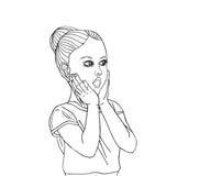 Удивленный ребенок с открытым ртом прочь смотрящ Стоковые Фотографии RF