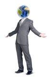 Удивленный человек с о'кей показа земли вместо головным Стоковое Изображение