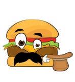 Удивленный шарж бургера Стоковое Изображение