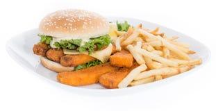 Удите бургер на плите изолированной на белизне Стоковое Изображение RF