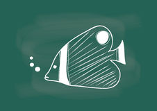 Удите, вектор чертежа рыб на меле классн классного Стоковые Изображения