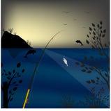 Удить в море Рассвет предпосылки скакать дельфинов также вектор иллюстрации притяжки corel Стоковые Изображения