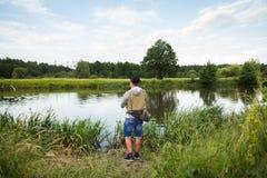 Удить в реке Стоковая Фотография RF