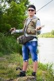 Удить в реке Стоковое Изображение RF