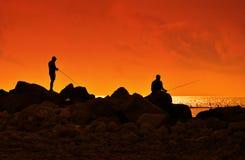 Удить на заходе солнца Стоковое Изображение RF