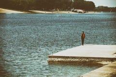 Удить на озере Стоковая Фотография
