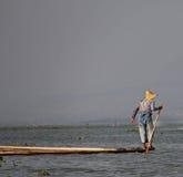 Удить на озере Inle Стоковое Изображение