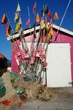 Удить флаги и сети Стоковая Фотография RF
