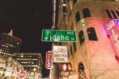 Улица Айдахо на ноче Стоковое Изображение