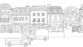 Улица анимации городская в историческом европейском городе На автомобилях и тележках дороги идя Люди идя, голуби летают видеоматериал